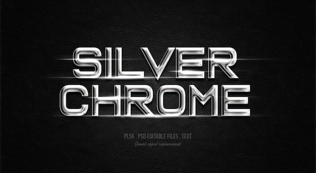Efeito de estilo de texto 3d em cromo prateado