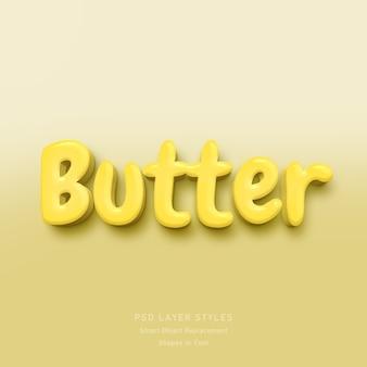 Efeito de estilo de texto 3d em manteiga psd