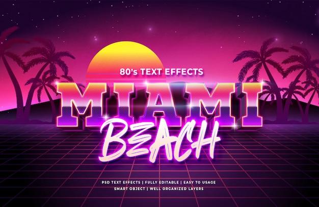 Efeito de estilo de texto 3d em miami beach
