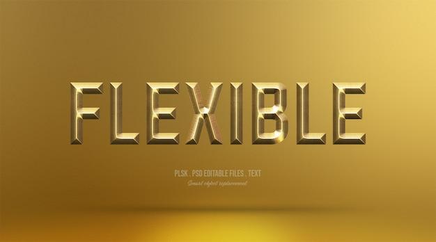 Efeito de estilo de texto 3d flexível