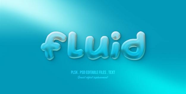 Efeito de estilo de texto 3d fluido