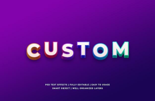 Efeito de estilo de texto 3d gradiente personalizado psd premium