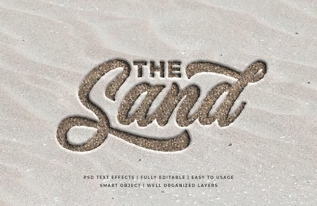 Efeito de estilo de texto 3d gravado em areia
