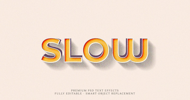 Efeito de estilo de texto 3d lento