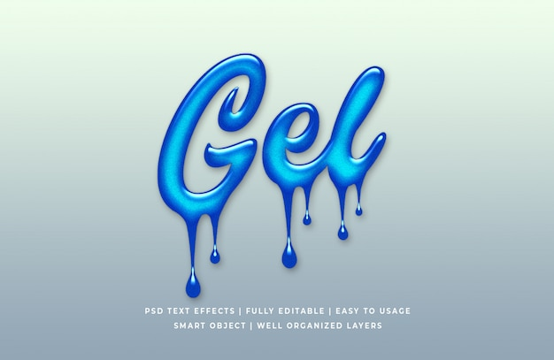 Efeito de estilo de texto 3d líquido de gel de álcool
