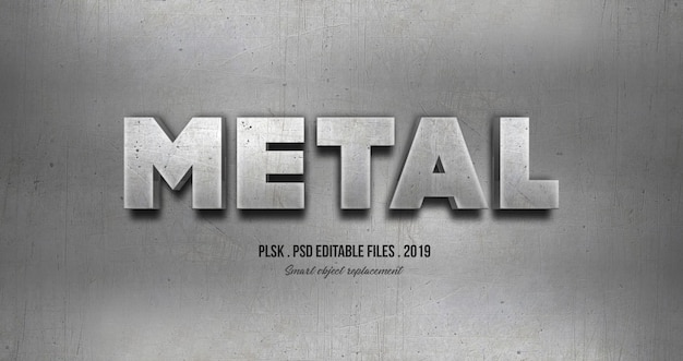 Efeito de estilo de texto 3d metal