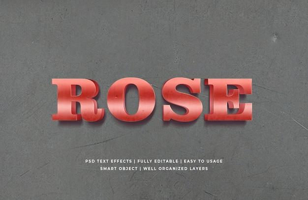 Efeito de estilo de texto 3d metálico de rosa vermelha psd premium