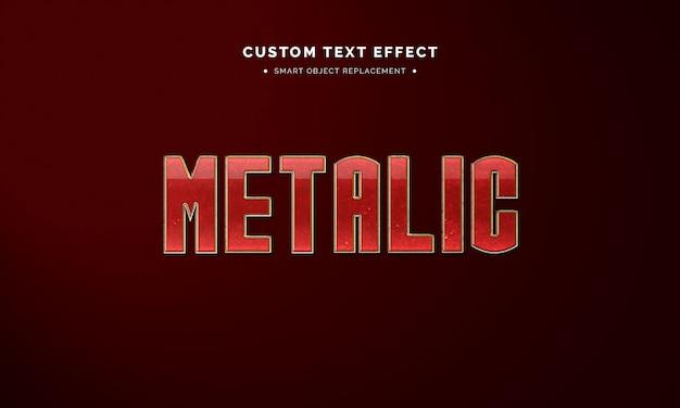 Efeito de estilo de texto 3d metálico vermelho