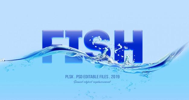 Efeito de estilo de texto 3d peixe