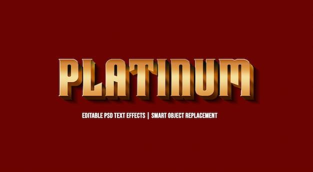 Efeito de estilo de texto 3d platinum premium