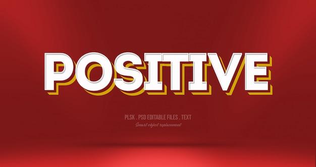 Efeito de estilo de texto 3d positivo