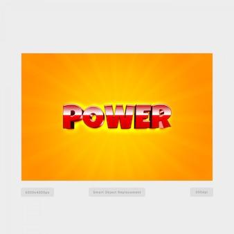 Efeito de estilo de texto 3d power