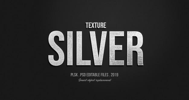 Efeito de estilo de texto 3d prata