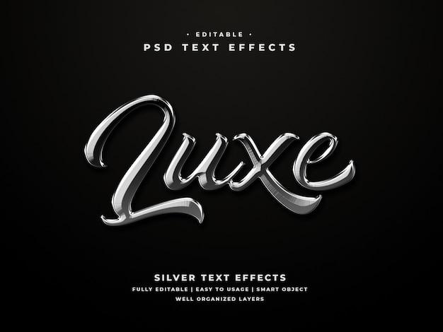 Efeito de estilo de texto 3d prateado editável