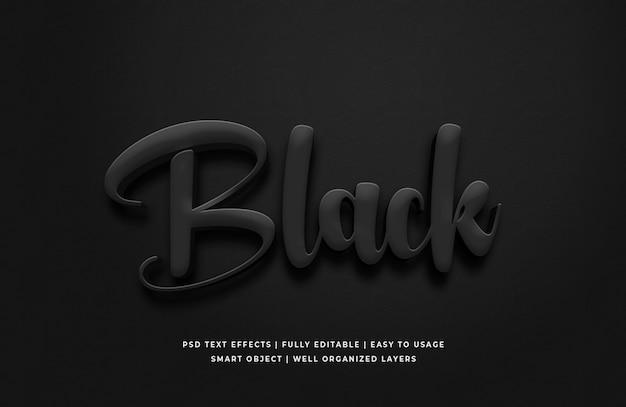 Efeito de estilo de texto 3d preto