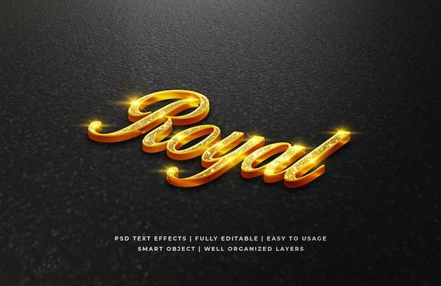 Efeito de estilo de texto 3d real dourado