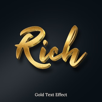 Efeito de estilo de texto 3d rico brilho dourado