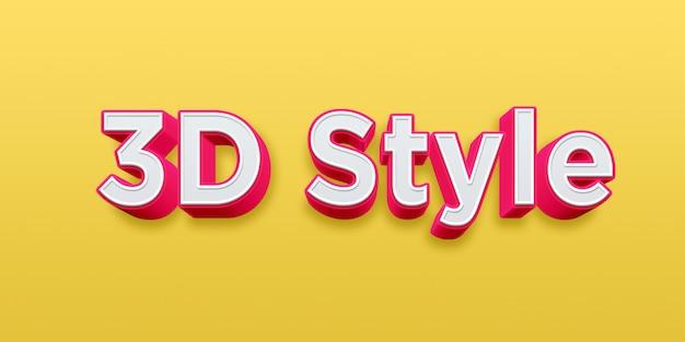Efeito de estilo de texto 3d rosa e branco