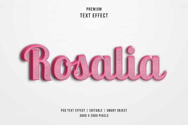 Efeito de estilo de texto 3d rosalia