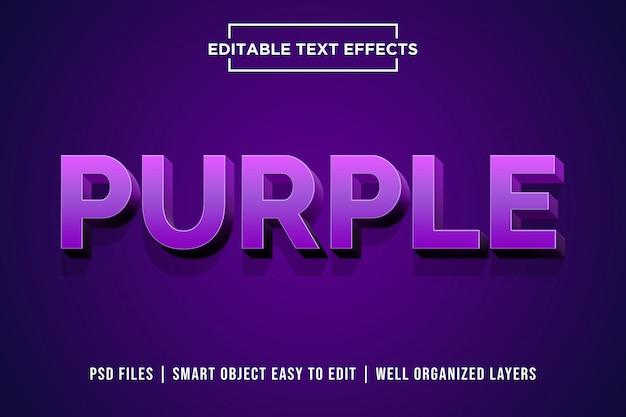 Efeito de estilo de texto 3d roxo psd premium