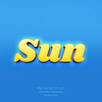 Efeito de estilo de texto 3d sun psd