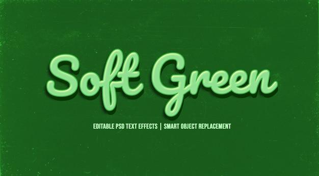 Efeito de estilo de texto 3d verde suave