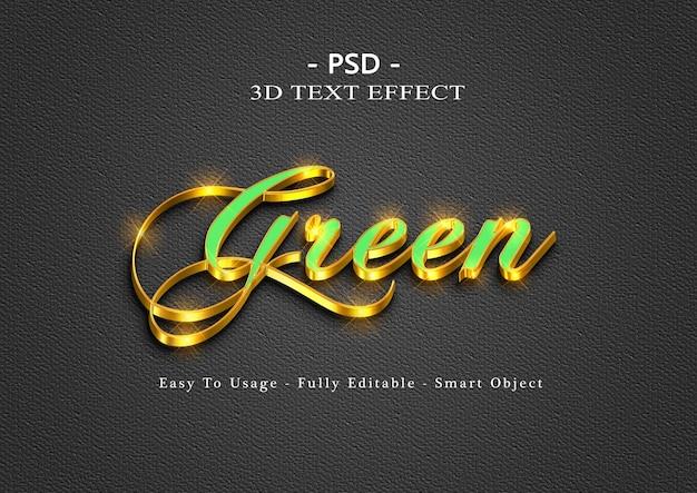 Efeito de estilo de texto 3d verde