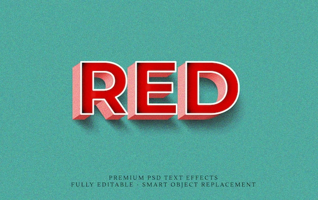 Efeito de estilo de texto 3d vermelho psd