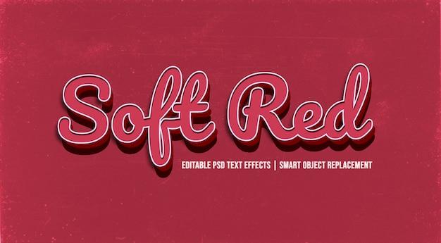 Efeito de estilo de texto 3d vermelho suave