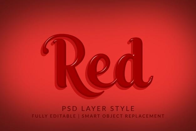 Efeito de estilo de texto 3d vermelho