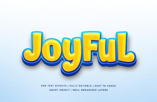 Efeito de estilo de texto alegre dos desenhos animados 3d