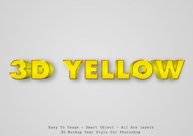 Efeito de estilo de texto amarelo 3d