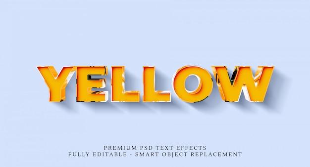 Efeito de estilo de texto amarelo psd, efeitos de texto psd premium