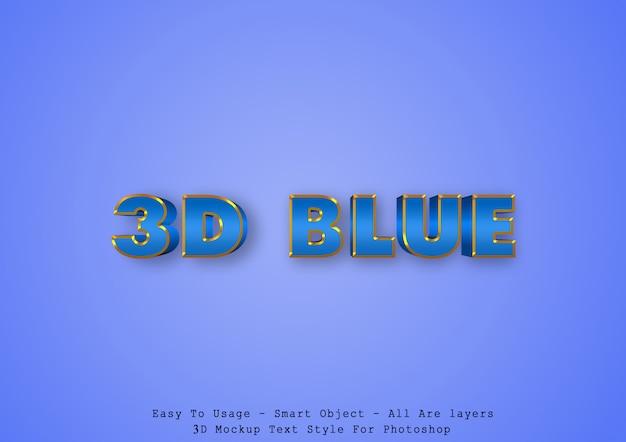 Efeito de estilo de texto azul 3d