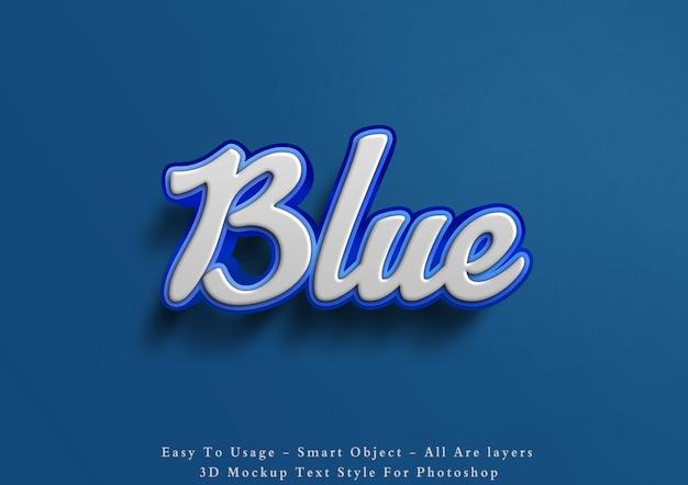 Efeito de estilo de texto azul de maquete 3d