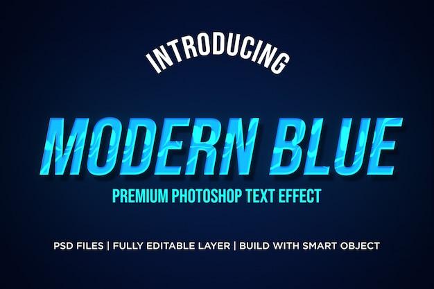 Efeito de estilo de texto azul moderno photoshop psd