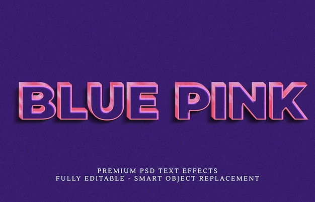 Efeito de estilo de texto azul psd, efeitos de texto psd premium