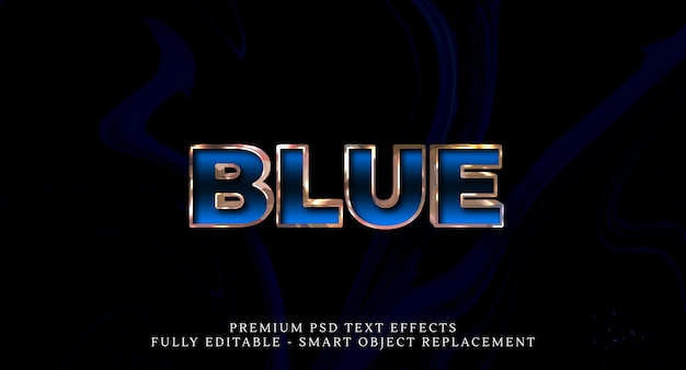 Efeito de estilo de texto azul psd, efeitos de texto psd