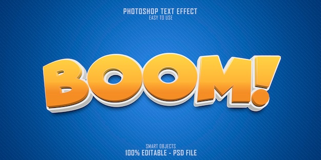 Efeito de estilo de texto boom 3d