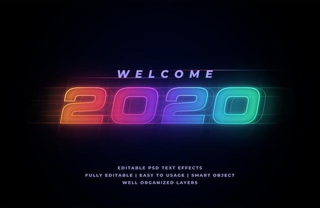 Efeito de estilo de texto de boas-vindas em 2020
