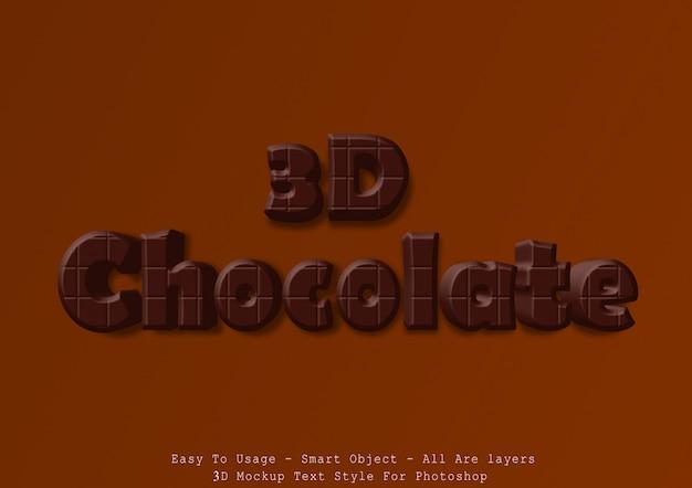 Efeito de estilo de texto de chocolate 3d