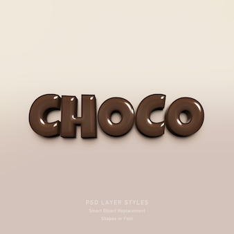 Efeito de estilo de texto de chocolate