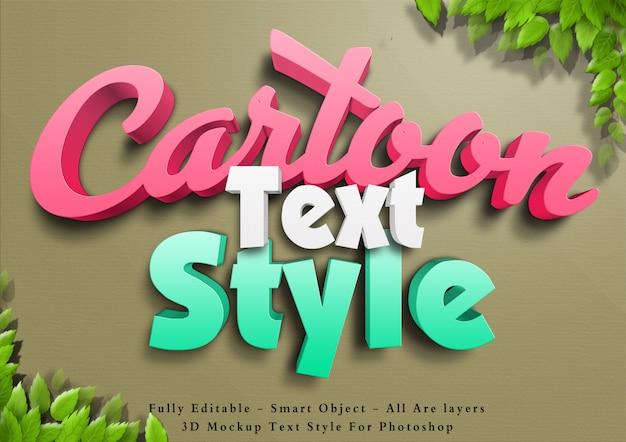 Efeito de estilo de texto de cor dos desenhos animados 3d