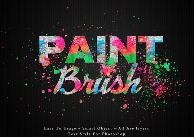 Efeito de estilo de texto de cores de pincel de pintura