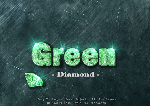 Efeito de estilo de texto de diamante verde 3d