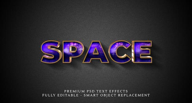 Efeito de estilo de texto de espaço psd, efeitos de texto psd premium