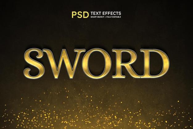 Efeito de estilo de texto de espada
