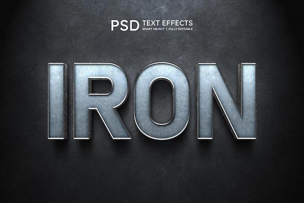 Efeito de estilo de texto de ferro