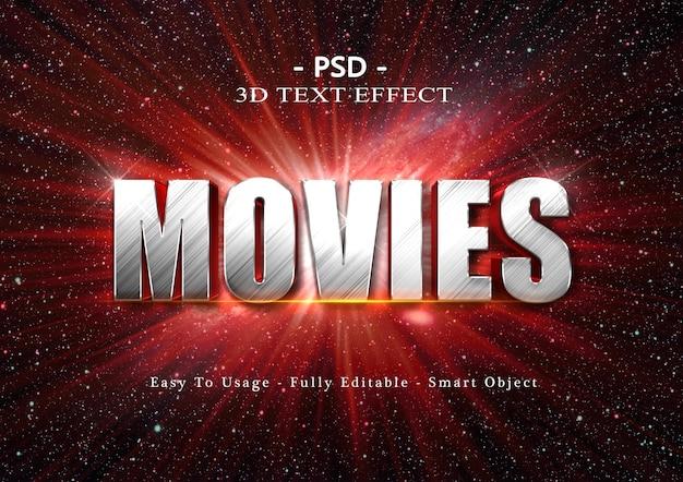 Efeito de estilo de texto de filmes 3d