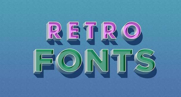 Efeito de estilo de texto de fontes 3d retrô